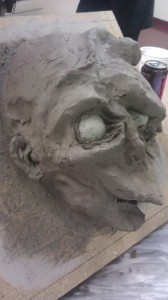 Raw sculpt (left)